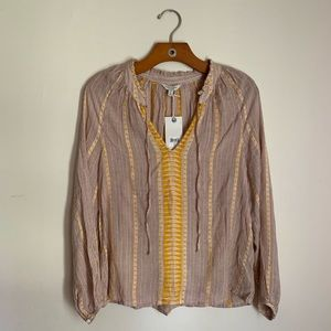 NWT! LUCKY BRAND Pintuck Peasant Blouse